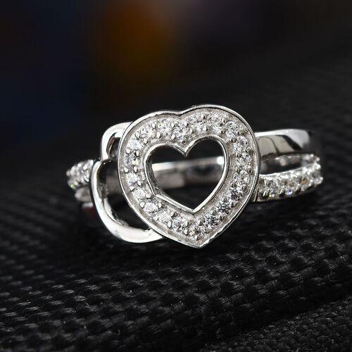 J Francis - Platinum Overlay Sterling Silver (Rnd) Ring Made with SWAROVSKI ZIRCONIA