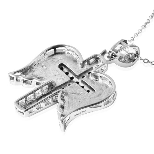 Black and White Austrian Crystal Cross and Angel Wings Pendant with Chain (Size 20) in Stainless Steel
