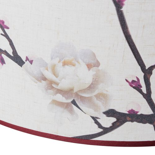 Linen Look Floral Printed Ceiling Lamp Shade with Gold Rim (50 cm Diameter) Rose Flower