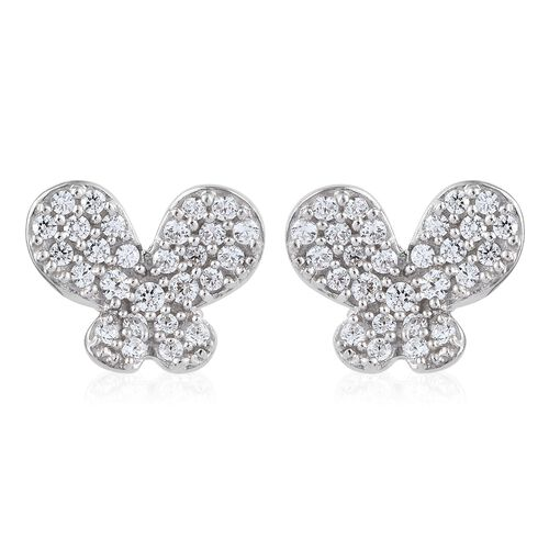 WEBEX- J-Francis Platinum Overlay Sterling Silver Cluster Butterfly Earrings (with Push Back) Made with SWAROVSKI ZIRCONIA
