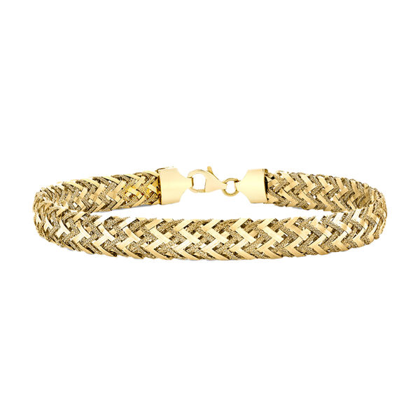 9K Yellow Gold Textured Woven Bracelet (Size - 7.5) with Lobster Clasp