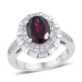 Rhodolite Garnet (Ovl), Natural Cambodian Zircon Ring (Size S) in Platinum Overlay Sterling Silver 3.250 Ct.