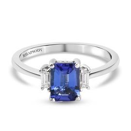 RHAPSODY 1.10 Ct AAAA Tanzanite and Diamond Solitaire Ring in 950 Platinum VS EF