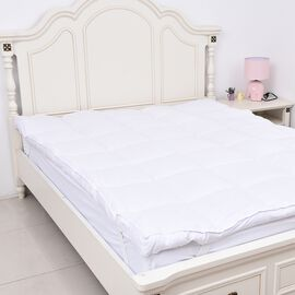 Extra Deep 7.5 cm Faux Down 4 Season Mattress Topper (Size 150x200 Cm) in White - King
