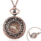 GENOA Automatic Mechanical Hollow-Out Star Pattern Skeleton Pocket Watch with Chain in Antique Rose
