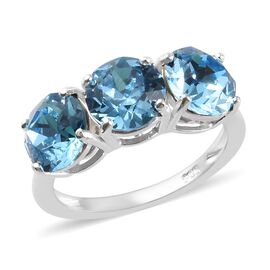 J Francis - Crystal from Swarovski Aquamarine Colour Crystal Trilogy Ring in Sterling Silver