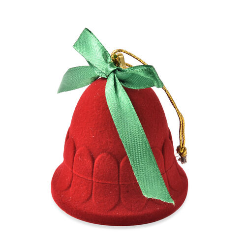 Set of 2 - Bell Velvet Ring Box in Red Colour with Green Bowknot  (Size 6x6cm)