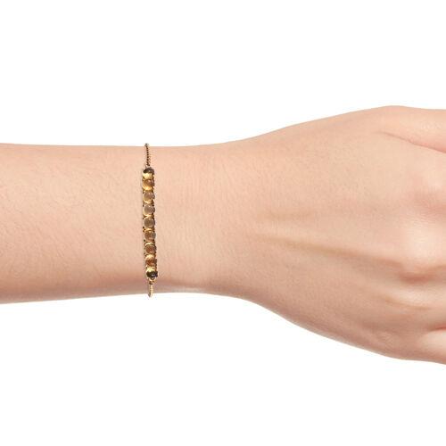 Citrine (Rnd) Bracelet (Size 6.5 - 9.5 Adjustable) in 14K Gold Overlay 5.000 Ct.