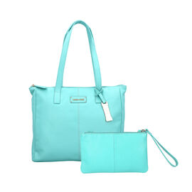 Union Code 100% Genuine Leather Ice Green Pattern Tote Bag and RFID Wristlet/Clutch Bag