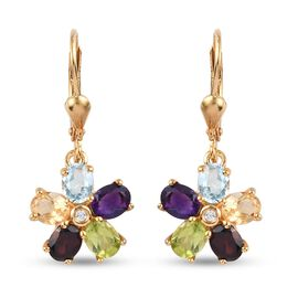Multi gemstones Cluster Earring in 14K Gold Overlay Sterling Silver 0.79 ct  3.325  Ct.