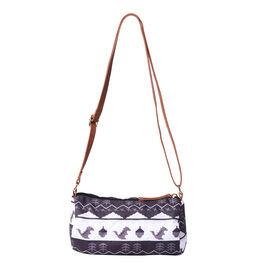 Black and White Stripe Print Crossbody Bag (19x10.5x10.5cm)