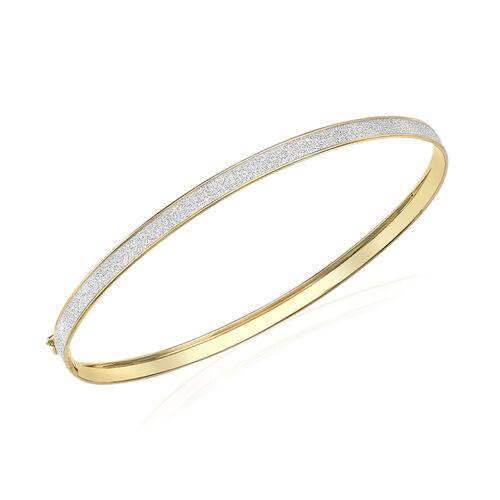 9K Yellow Gold Stardust Bangle (Size 7.5)