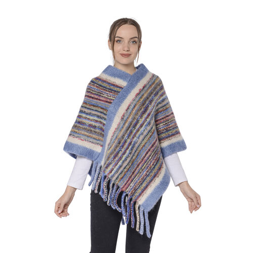 New Arrival Spring Style Striped Poncho with Blue Border and Tassel Hem