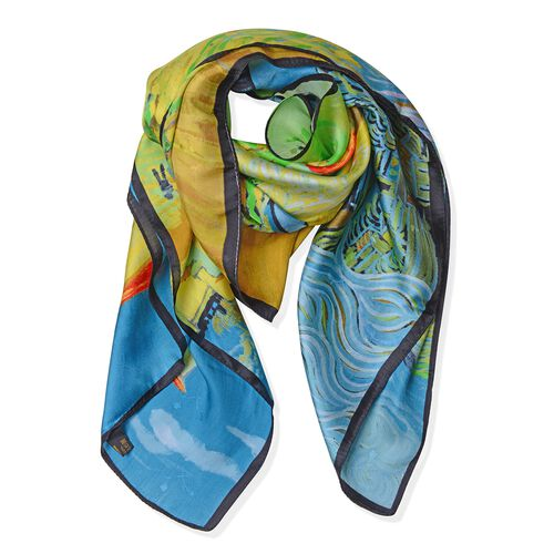 100% Mulberry Silk Green, Yellow, Blue and Multi Colour The Yellow House Printed Scarf (Size 86x86 C