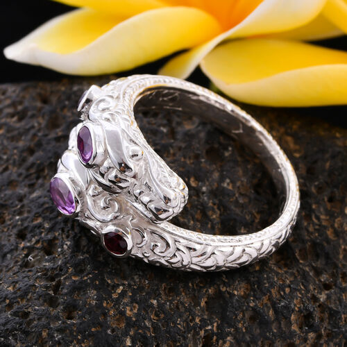 Royal Bali Collection - Pink Sapphire (Ovl 5x3mm) Dragon Head Ring in Sterling Silver 1.03 Ct, Silver wt 8.00 Gms