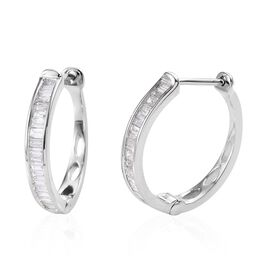 9K White Gold Diamond (Bgt) Hoop Earrings (with Clasp) 0.50 Ct.