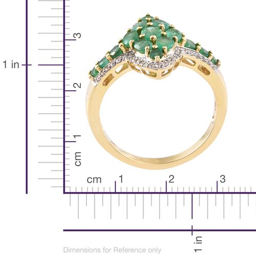 Exclusive Edition- 9K Yellow Gold Kagem Zambian Emerald (Ovl), Natural Cambodian Zircon Ring 2.750 Ct. Gold Wt 4.75 Gms