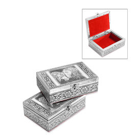 Set of 2 - Handmade Horse Embossed Oxidized Storage Box (Size 17.7x12.7x5 Cm) with Red Velvet Lining