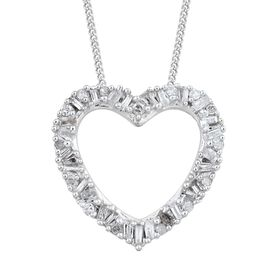Designer Inspired-Diamond (Bgt and Rnd) Heart Pendant with Chain in Platinum Overlay Sterling Silver 0.250 Ct.