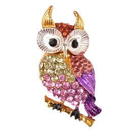Multi Colour Austrian Owl Crystal Brooch in Gold Tone