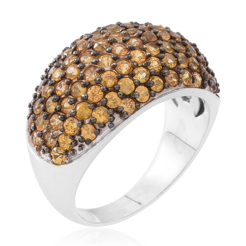 Limited Edition - Chanthaburi Yellow Sapphire (Rnd) Ring in Rhodium Plated Sterling Silver 4.750 Ct.