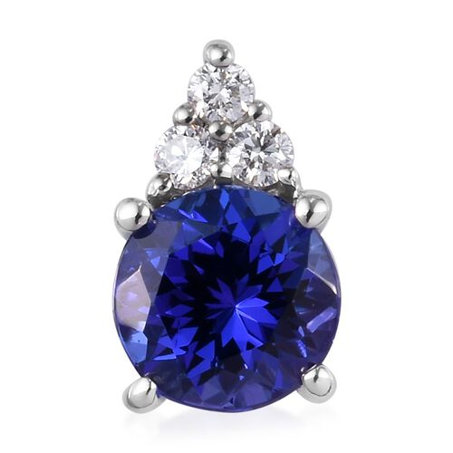 RHAPSODY 950 Platinum AAAA Tanzanite (Rnd), Diamond (VS/E-F) Pendant  1.75 Ct.