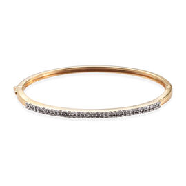 Diamond (Rnd) Bangle (Size 7.5) in 14K Gold Overlay Sterling Silver   0.750 Ct, Silver wt 14.32 Gms,