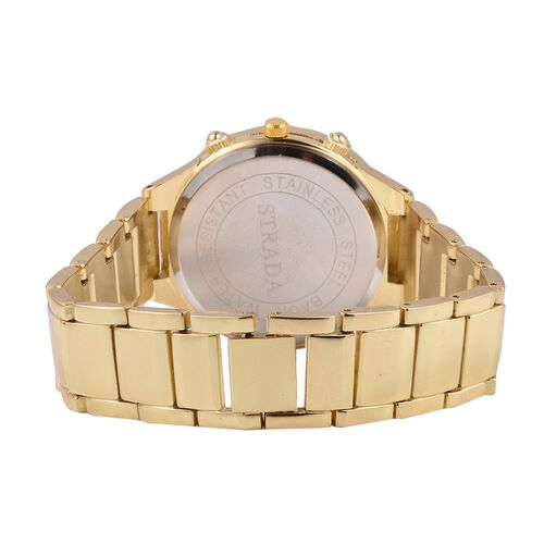 STRADA Japanese Movement Water Resistant with Green MOP Dial White Austrian Crystal Studded Watch with Gold Colour Strap