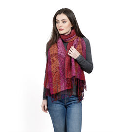 One Time Deal Designer Inspired 100% Merino Wool Brown and Multi Colour Paisley Pattern Scarf with F