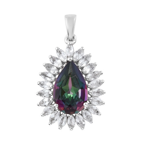 Mystic Green Topaz (Pear 5.00 Ct), White Topaz Pendant in Platinum Overlay Sterling Silver 7.000 Ct.