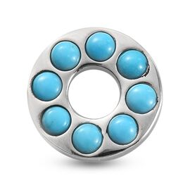 Arizona Sleeping Beauty Turquoise Circle Pendant in Platinum Overlay Sterling Silver 2.420 Ct.