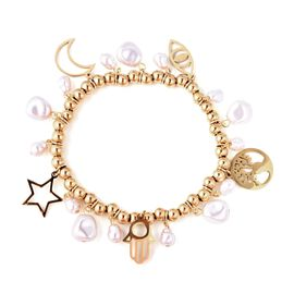 Simulated Pearl Multicharm Stretchable Bracelet in Gold Plated 7 Inch