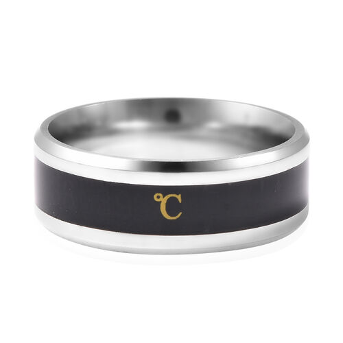 Celsius Temperature Band Ring in Black and Silver Tone