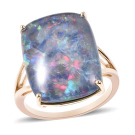 9K Yellow Gold AAA Australian Boulder Opal (Cus20x15) Ring