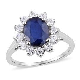 AA Kanchanaburi Blue Sapphire (Ovl), Natural Cambodian Zircon Ring in Platinum Overlay Sterling Silv
