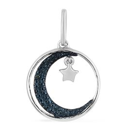 Blue Diamond (Rnd) Moon and Star Pendant in Blue and Platinum Overlay Sterling Silver