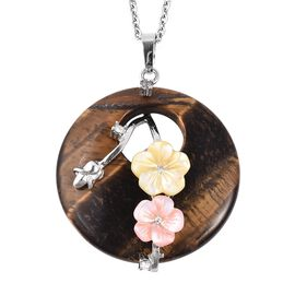 Yellow Tiger Eye (Rnd), White Austrian Crystal, Flower Carved Pink and Yellow Shell Pendant with Cha
