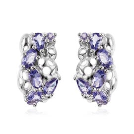 RACHEL GALLEY Misto Collection - Tanzanite Lattice Earrings (with Push Back) in Rhodium Overlay Ster