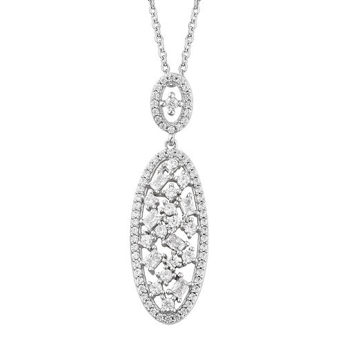 J Francis - Platinum Overlay Sterling Silver Pendant with Chain (Rnd) Made with SWAROVSKI ZIRCONIA, Silver wt 5.00 Gms.