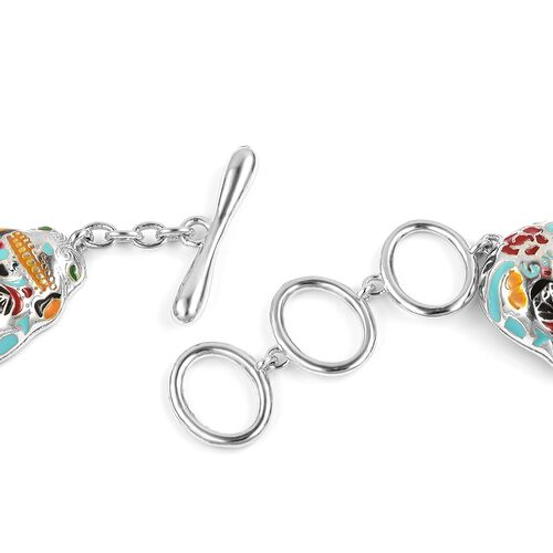 One Time Deal- Boi Ploi Black Spinel (Rnd) Multi Colour Enameled Skull Bracelet (Adjustable Size 7-8) in Rhodium Plated Sterling Silver 5.750 Ct. Silver wt 17.00 Gms.