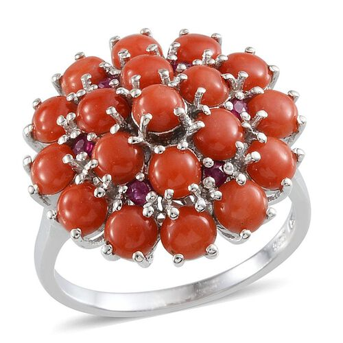 Mediterranean Coral (4.75 Ct),Burmese Ruby Platinum Overlay Sterling Silver Ring  5.250  Ct.