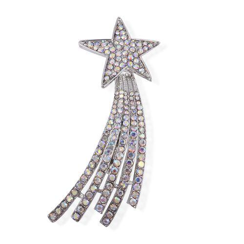 Aurora Borealis Austrian Crystal (Rnd) Shooting Star Brooch