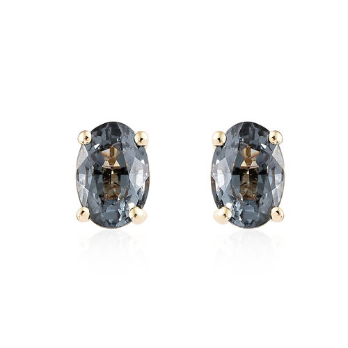 9K Yellow Gold AAA Platinum Grey Spinel (Ovl) Earrings (with Push Back) 1.000 Ct.