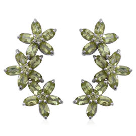 Hebei Peridot (Ovl) Floral Earrings (with Push Back) in Rhodium Overlay Sterling Silver 7.320 Ct, Silver wt 6.10 Gms.
