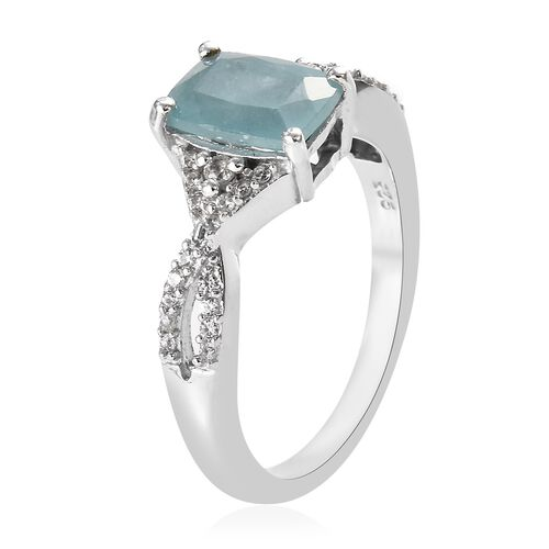 Grandidierite (Cush), Natural Cambodian Zircon Ring in Platinum Overlay Sterling Silver 1.50 Ct.