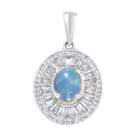 Rare Size - Ethiopian Welo Opal (Ovl 9x7 mm), Natural Cambodian Zircon Pendant in Platinum Overlay S