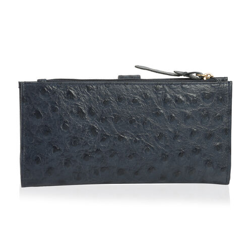 Close Out Deal 100% Genuine Leather Classic Black Ostrich Embossed Large Clutch Wallet with RFID Blocking (Size 19x2.5x10 Cm)