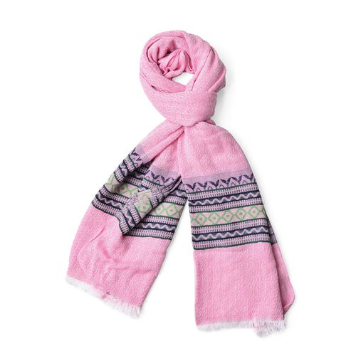 New Season-Pink, Blue and Multi Colour Zigzag Pattern Scarf with Fringes (Size 180X65 Cm)