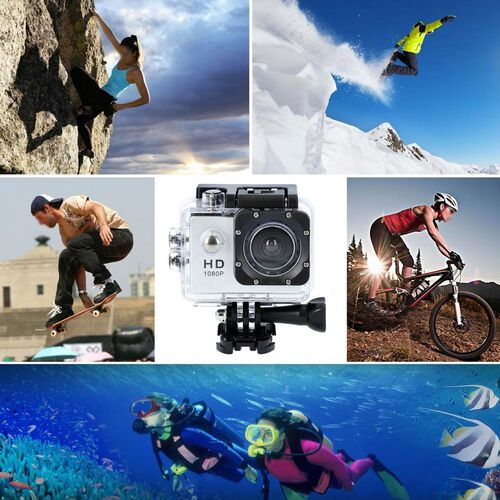 1080P HD TFT Screen Action Camera with 100 Degree Wide Angle - White