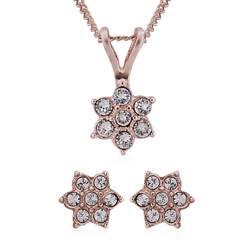 2 Piece Set -  ETERNITY White Swarovski Crystal Necklace (Size 18 with 2 inch Extender) and Earrings